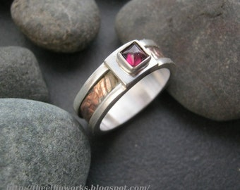 Imperfectly beautiful slightly off center garnet ring, sterling ring band & textured copper inlay, size 10 and 1/2, mixed metals, handmade