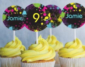 Neon Party Cupcake Toppers - Glow Party Cupcake Toppers - Instantly Downloadable and Editable File - Personalize at home with Adobe Reader