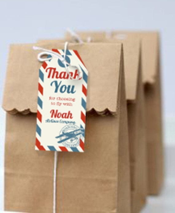 Airplane Birthday Party Favor Tags: Airplane Party Favor Tags Vintage Airplane Party Favors