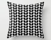 Leaves Black Throw Pillow - Geometric Pillow - Modern Decor - Throw Pillow - Urban Decor - by Beverly LeFevre