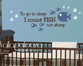 To go to sleep I count fish wall decal - kids fish wall decal - fish wall decal/wall art - wall art