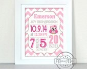 Custom Birth Print, Personalized Baby Birth Announcement, Pink and Hray Nursery Art