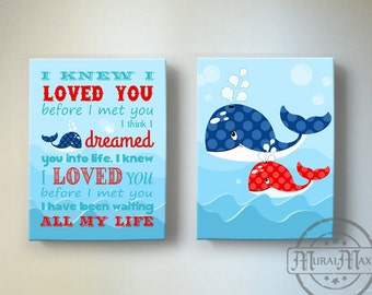 Nautical Kids Wall Art, Boys wall art - Whale Canvas Art, Boys Room Decor, Nursery Quote Set of two Canvas Reproduction