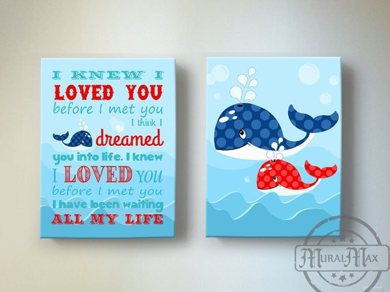 Kids Wall Art Boys Wall Art Whale Canvas Art Boys Room Decor