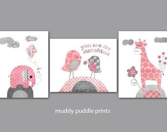 Pink and Grey Nursery decor, Nursery art, Nursery prints, Pink, Gray, Elephant, birds, giraffe - you are my sunshine pink