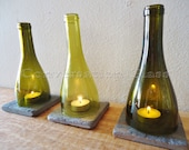 Wine Bottle Candle Holders Tea Light Hurricane Lamps Lanterns Set of 3     Higher Quantities Available