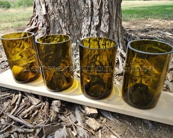 Wine Bottle Glasses with Punts 12 oz  Set of 4