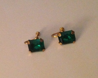 Vintage Emerald Cut Rhinestone Screw Back Earrings