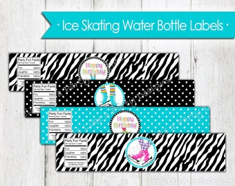 Ice Skating Water Bottle Wrappers - Instant Download