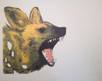 """African Wild Dog Photo-Lithography Three Color Print on Cream Paper """"Smile More"""""""