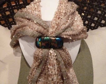 Brown Scarf Clip with dichroic accents