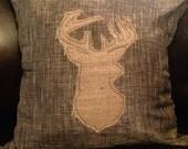 Burlap Deer Silhouette 18x18 Brown Woven Pillow Cover Applique  Burlap Rustic Home Decor Nursery