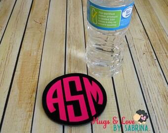 Round Polyurethane Foam Coaster - Monogram - Personalized