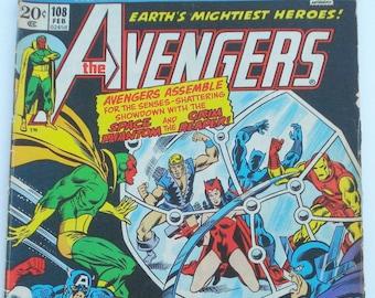 The Avengers Comic Book  Marvel Group  No. 108, Feb 1972  Very RARE