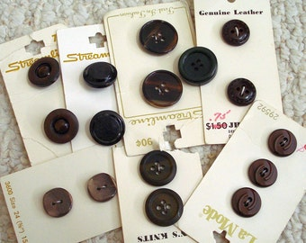 Assortment Small Black and Dark Brown Vintage Buttons on Cards, 16 buttons total