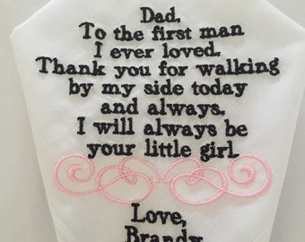 father of the bride embroidered handkerchief hankie