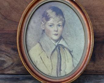 Vintage Boy's Chalk Portrait, 1950's Americana Piece