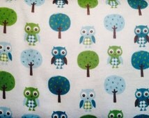 FLANNEL - Blue and Green Owls and Trees Fabric - Boy Owl Fabric