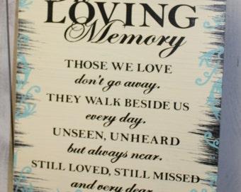 In Loving Memory/Those We Love/They Walk Beside Us/Memorial Sign/U Choose Colors/Great Shower Gift/Brown/Ivory/Light Aqua/Black/Wood Sign