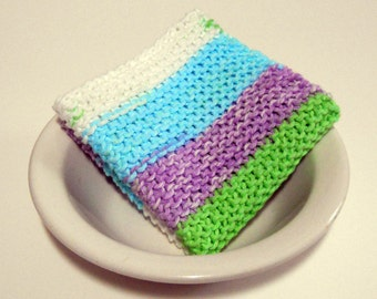 Large Pastel Striped Hand Knit Cotton Washcloth/ Dishcloth, 9 inches square, Mix and Match for Custom Set, Housewarming Gift, Easter Gift