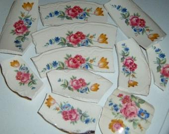 Broken China, Mosaic Tiles, Hand Cut, Rose China, Roses, Focal,