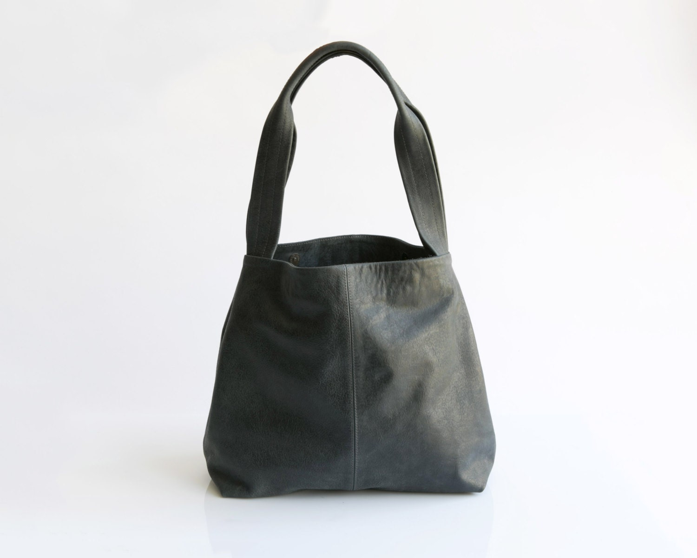 charcoal grey leather tote bag soft leather bag shoulder. Black Bedroom Furniture Sets. Home Design Ideas
