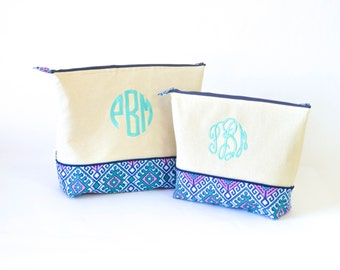 Large and Extra Large Set of Monogrammed Cosmetics bags- Hopi Cloud #13 and Teal