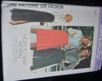 70s Simplicity 7563 Misses Skirt in Two Lengths and Pantskirt Sewing Pattern - UNCUT Size 12