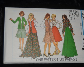 Style 1335  Junior Teens Skirt in two  lengths Cardigan and Blouse Sewing Pattern -UNCUT many sizes available