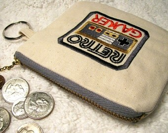 Retro Gamer Large Coin Purse, Key Ring -  Embroidered Gamer Change Purse Key Fob - Geekery - Small Purse for Gamer - Stocking Stuffer - Gift