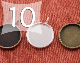 16 mm Circle Pendant Tray Silver, Antique Bronze or Antique Copper for Clear Glass or Resin