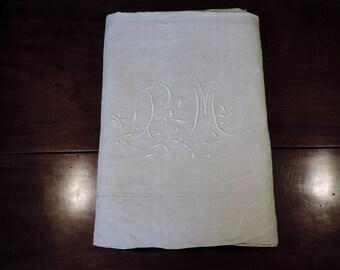 Ecru Metis linen double sheet, with monogram PM