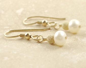 Fresh Water Pearl Earrings on 14k Gold Filled Ear Wire Best selling Handmade Gemstone Jewelry / WeddingGift