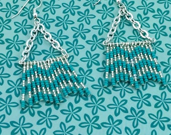 Chevron Teal and Clear Glass Seed Bead Fringe Earrings