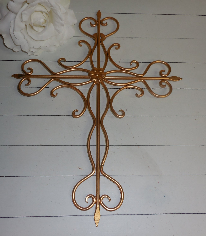 Gold Cross Wall Decor : Gold metal cross wall art religious home decor