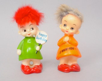 SALE! Set of 2 1970 Happy Birthday and Love Figurines by It's The Berries Hong Kong
