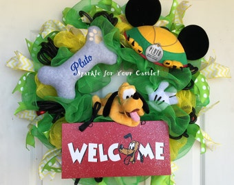 Pluto  Disney Wreath, Pluto Wreath, Pluto Welcome Wreath, Welcome Wreath