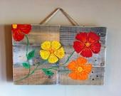 Flowers on Repurposed Wood
