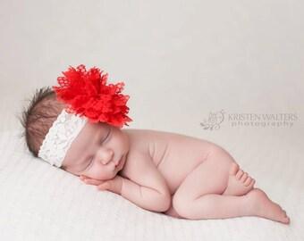 FREE SHIPPING! Red Newborn Headband, Valentine Headband, Baby Headbads, Newborn Headbands, Baby Girl Flower Headband, Photography Prop