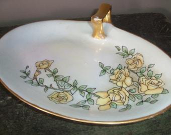 Antique 1928 Limoges France Porcelain Dish Gold Trimmed
