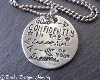 inspirational quote necklace graduation gift