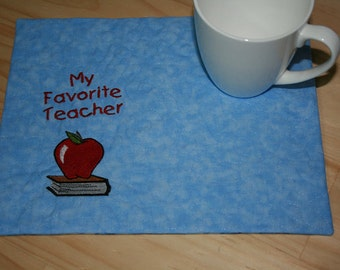 My Favorite Teacher Mug Rug