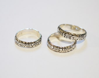 Floral Sterling Ring / Oxidized Ring / Floral Jewelry