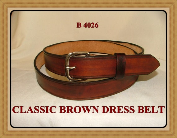Hand Tooled, Handcrafted, Handmade, Hand Finished, Men's Leather Belt, Women's available in 1_1/4 or 1_1/2 inches width. No.B 4026