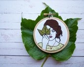 RESERVED FOR LMJ 3inch Hoop Art 'Jackie' Modern Embroidery