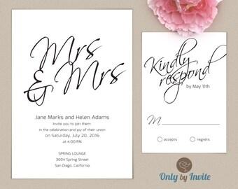 Lesbian wedding invitation and rsvp card set same gender for Gay wedding shower invitations