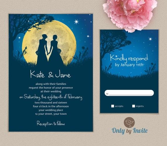 Lesbian Wedding Invitation Printed Starry Night By