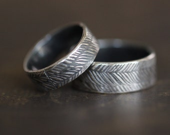 FEATHERED:  Mens, Feather Ring, Embossed, Rustic, Bohemian, Sterling Silver, Wedding Band, Wide Band, Bohemian, Tribal, His and Hers