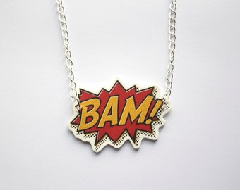 BAM! Comic book style Geeky Statement necklace