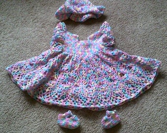 Crochet Infant Heirloom Dress/Hat/Booties ~ girl ~ infant